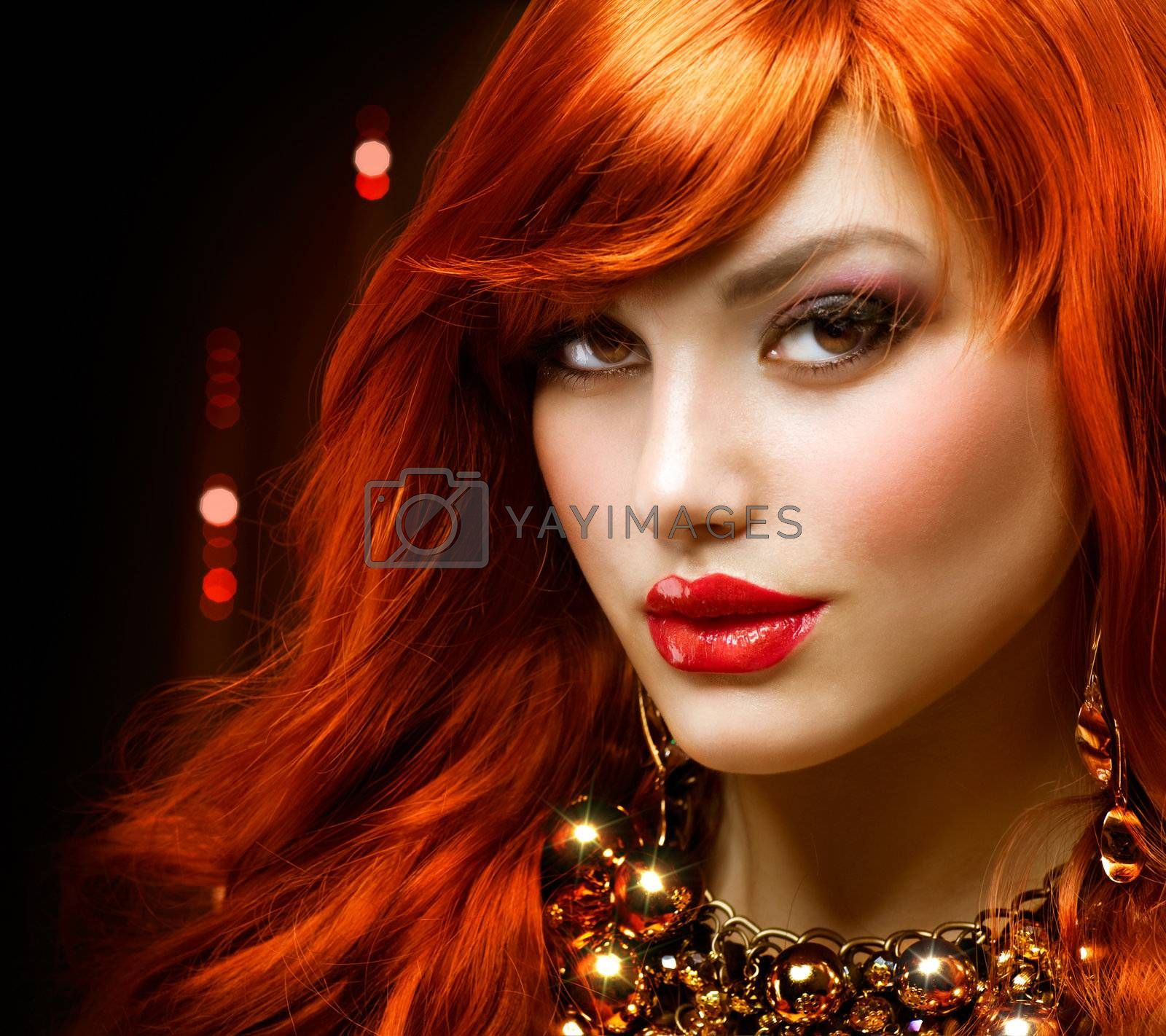 Fashion Red Haired Girl Portrait. Jewelry