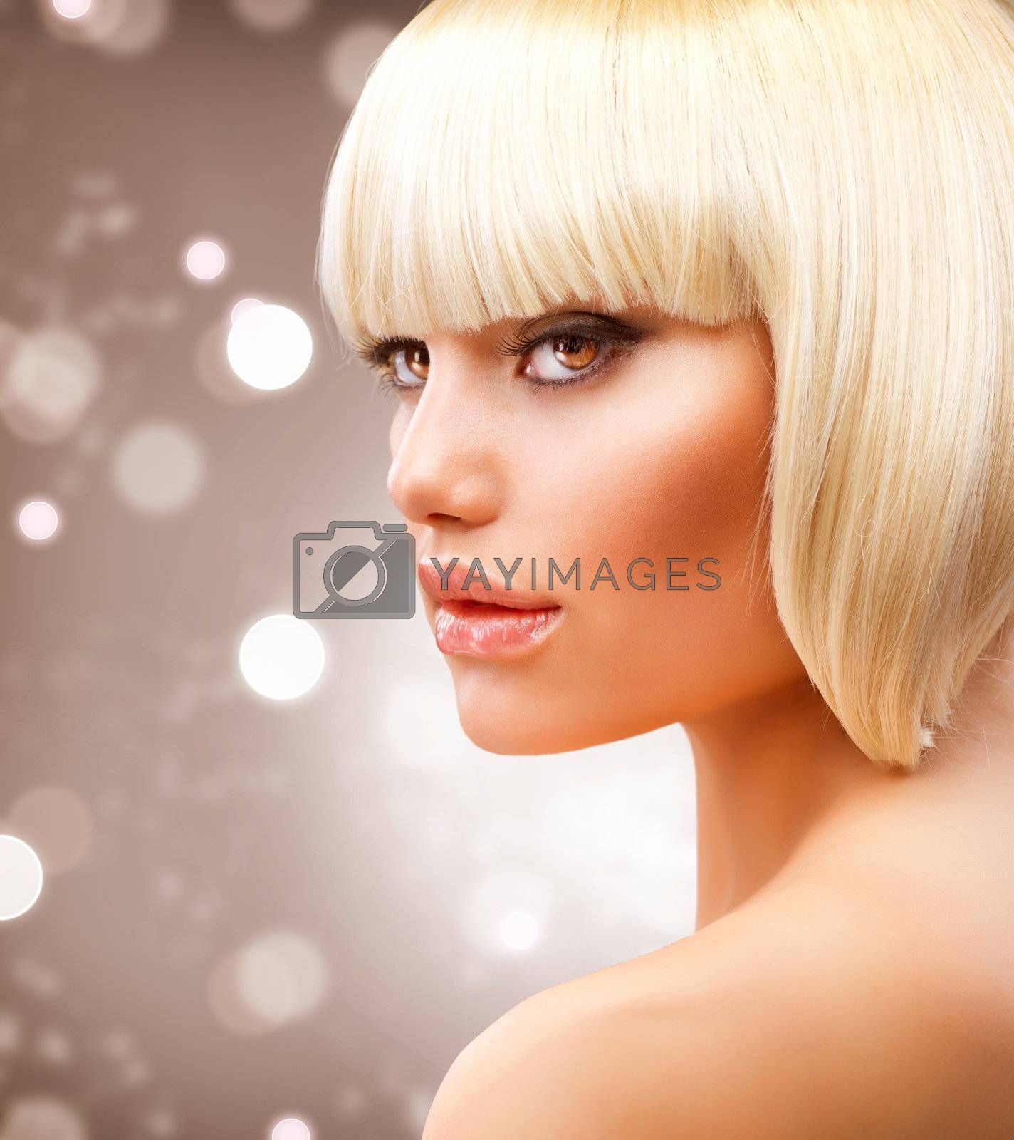 Haircut. Beautiful Girl with Healthy Short Blond Hair  by SubbotinaA