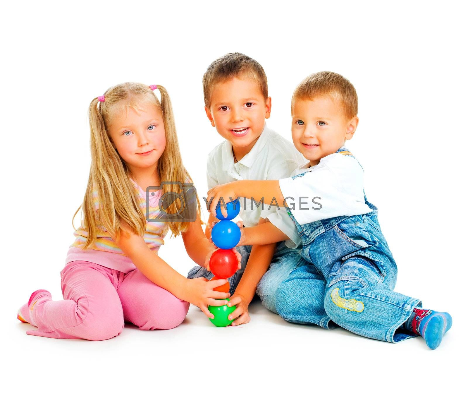 Children playing on the floor.Educational games for kids by Subbotina Anna