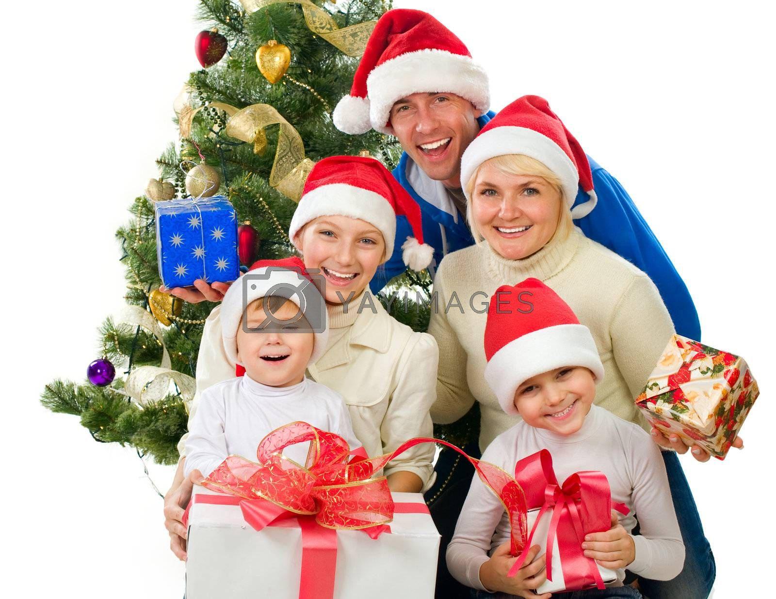 Christmas Family isolated on white by Subbotina Anna