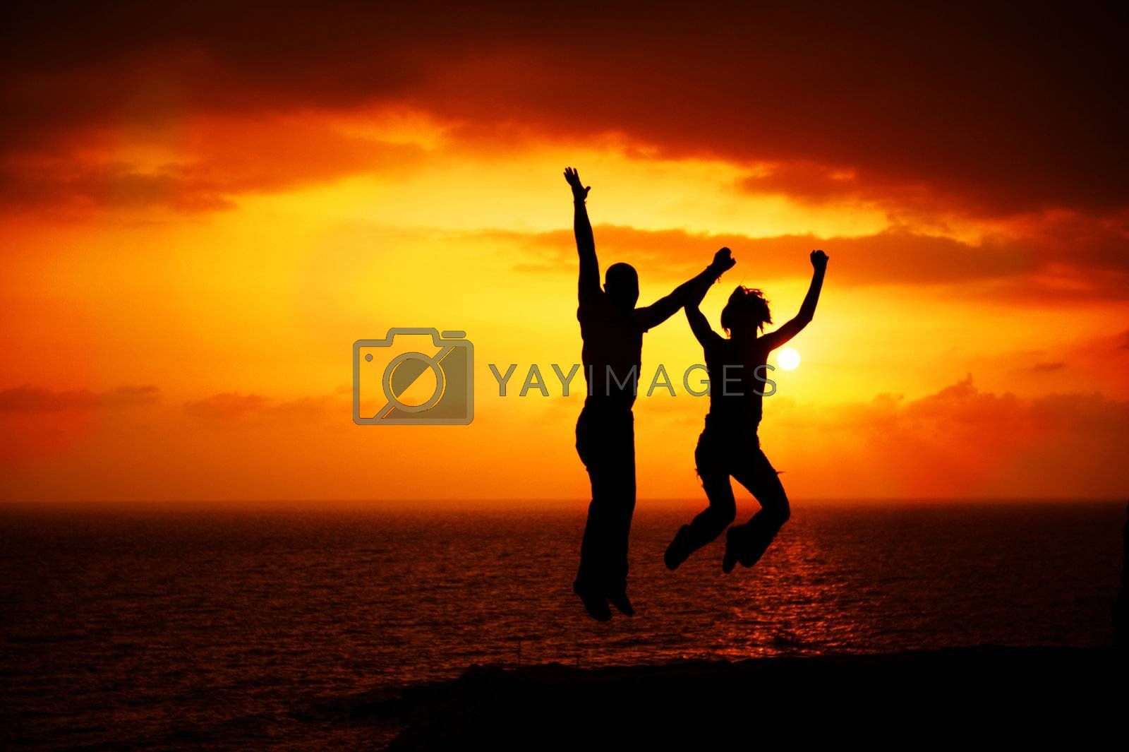 Two Happy Jumping People