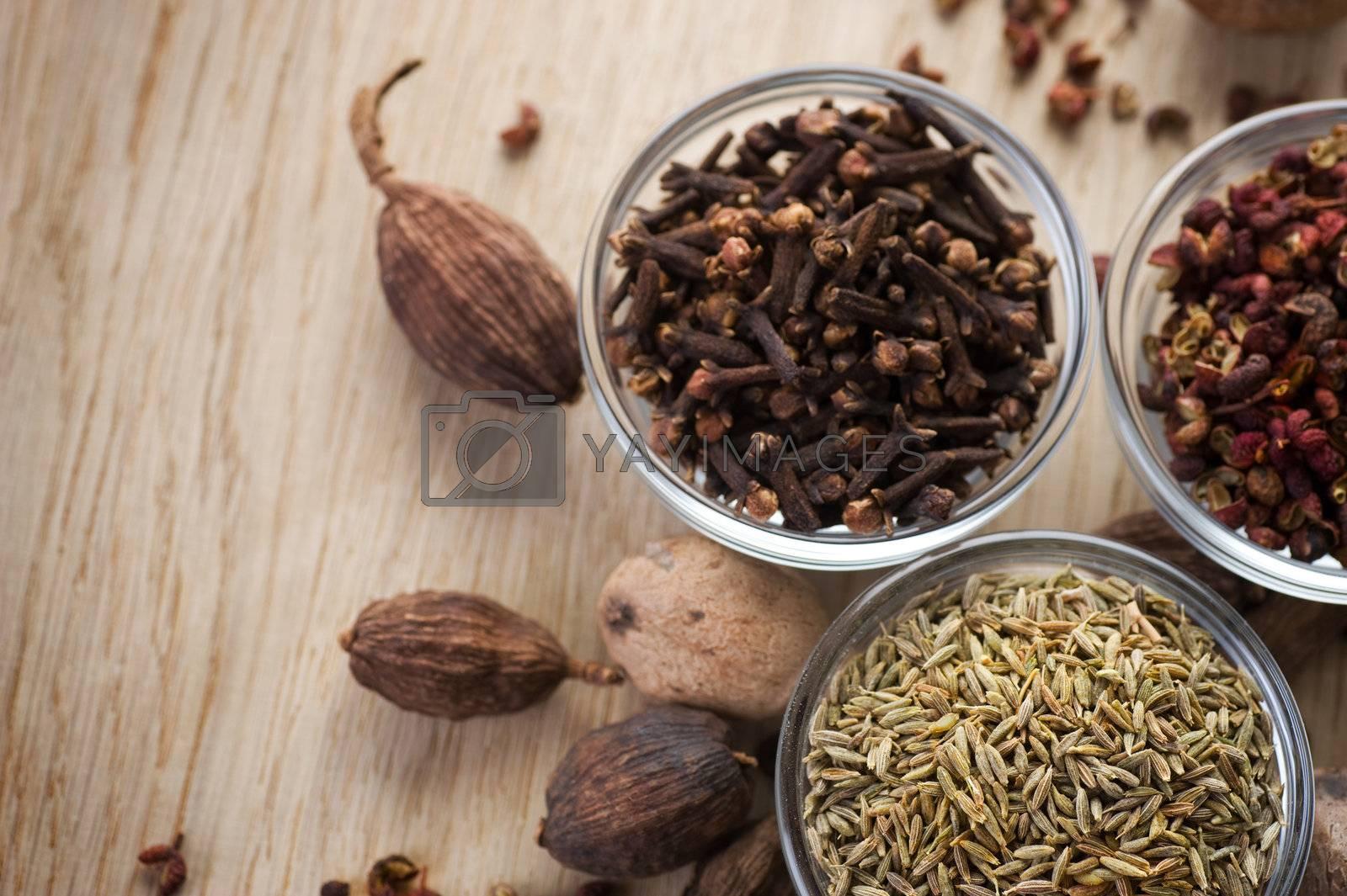 Assortment Spices Closeup