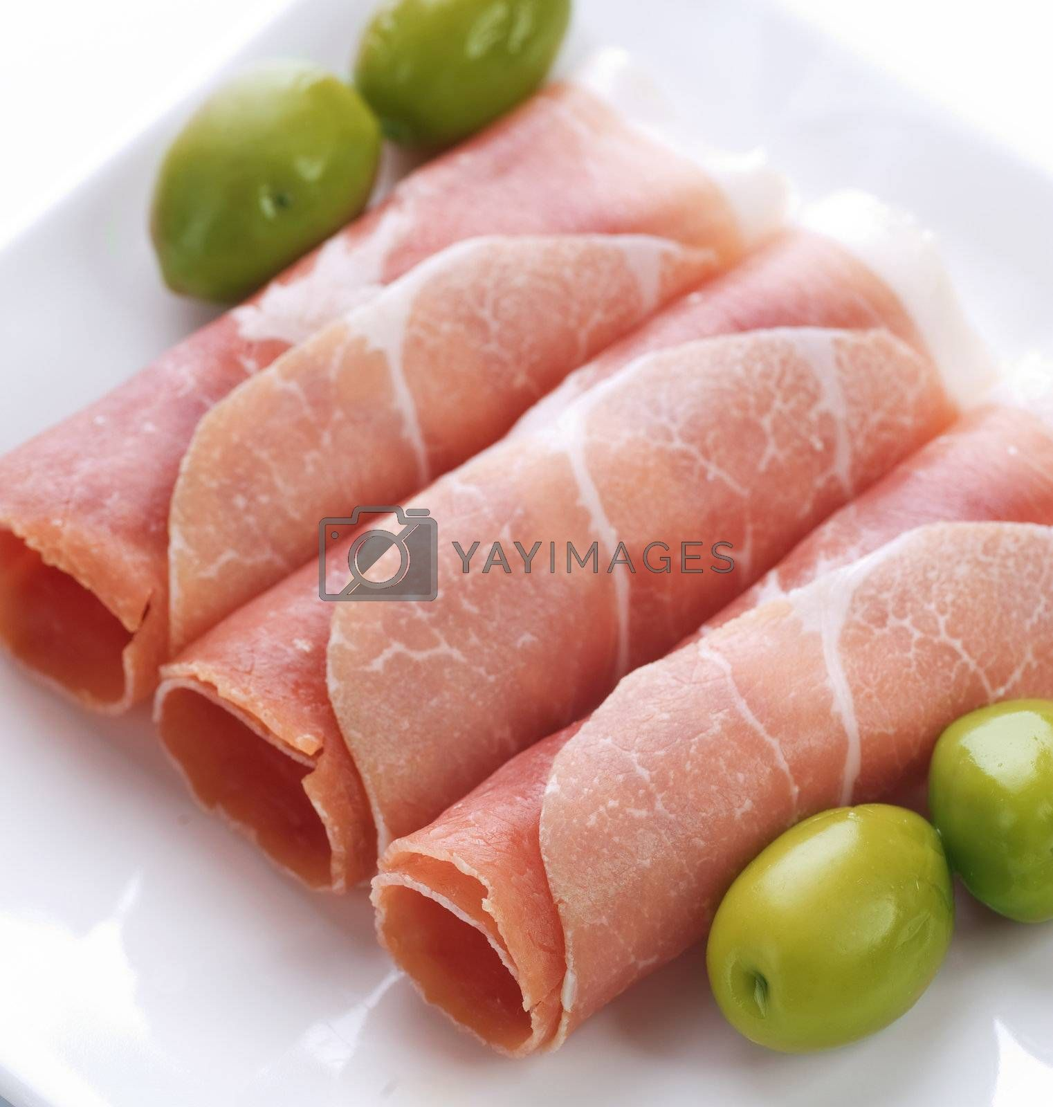 Fresh prosciutto rolls closeup