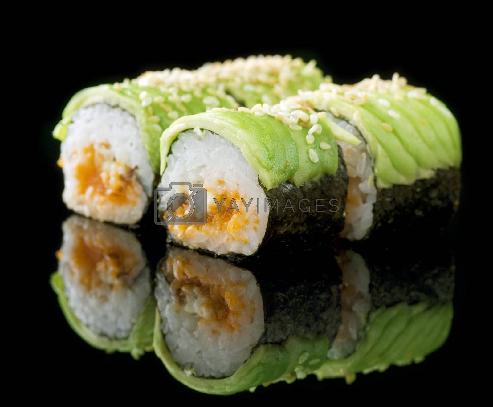 Sushi Rolls Over Black by Subbotina Anna