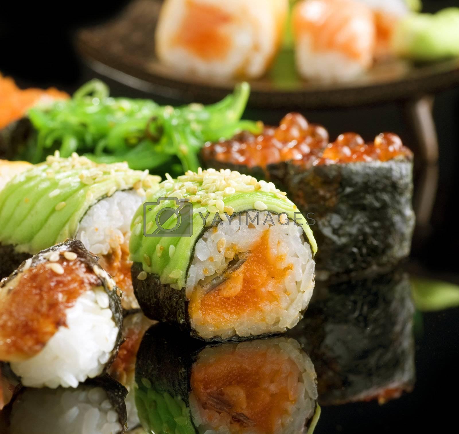 Sushi And Rolls Closeup by Subbotina Anna