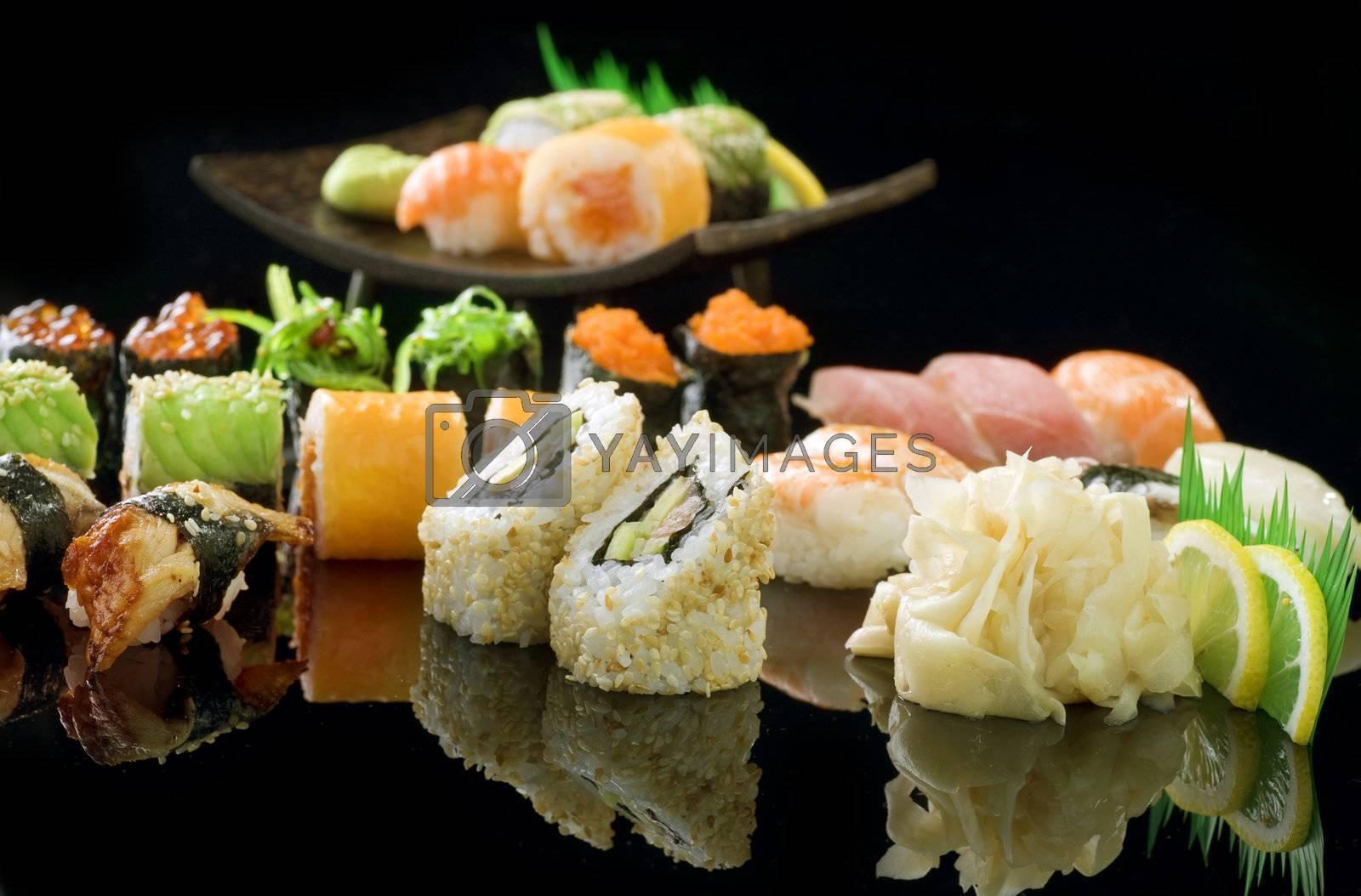 Sushi Over black by Subbotina Anna