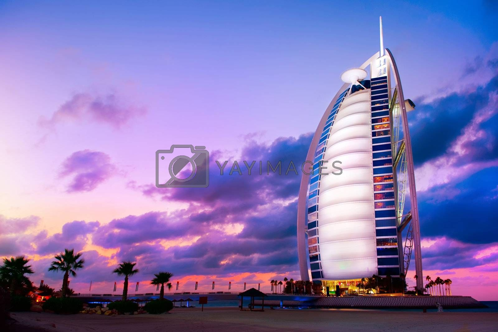 DUBAI, UAE - NOVEMBER 27: Burj Al Arab hotel on Nov 27, 2011 in Dubai. Burj Al Arab is a luxury 5 stars hotel built on an artificial island in front of Jumeirah beach.
