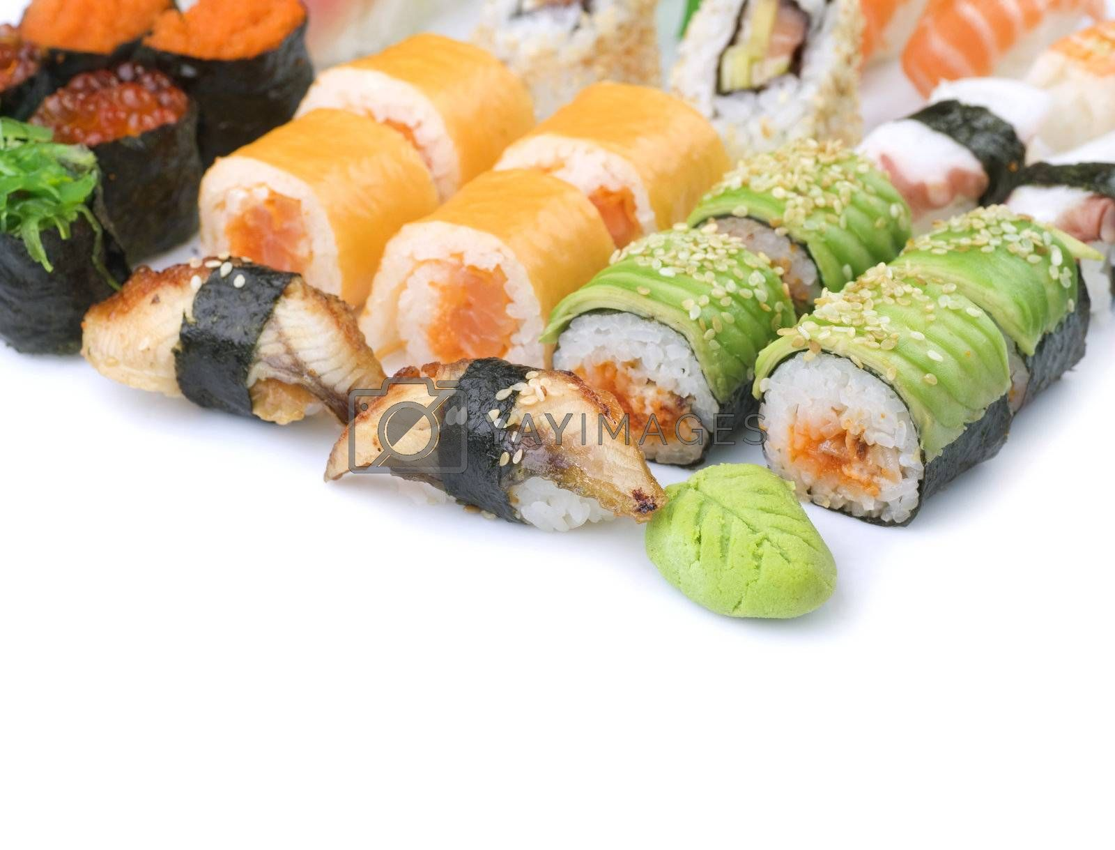 Different Sushi And Rolls Border by Subbotina Anna