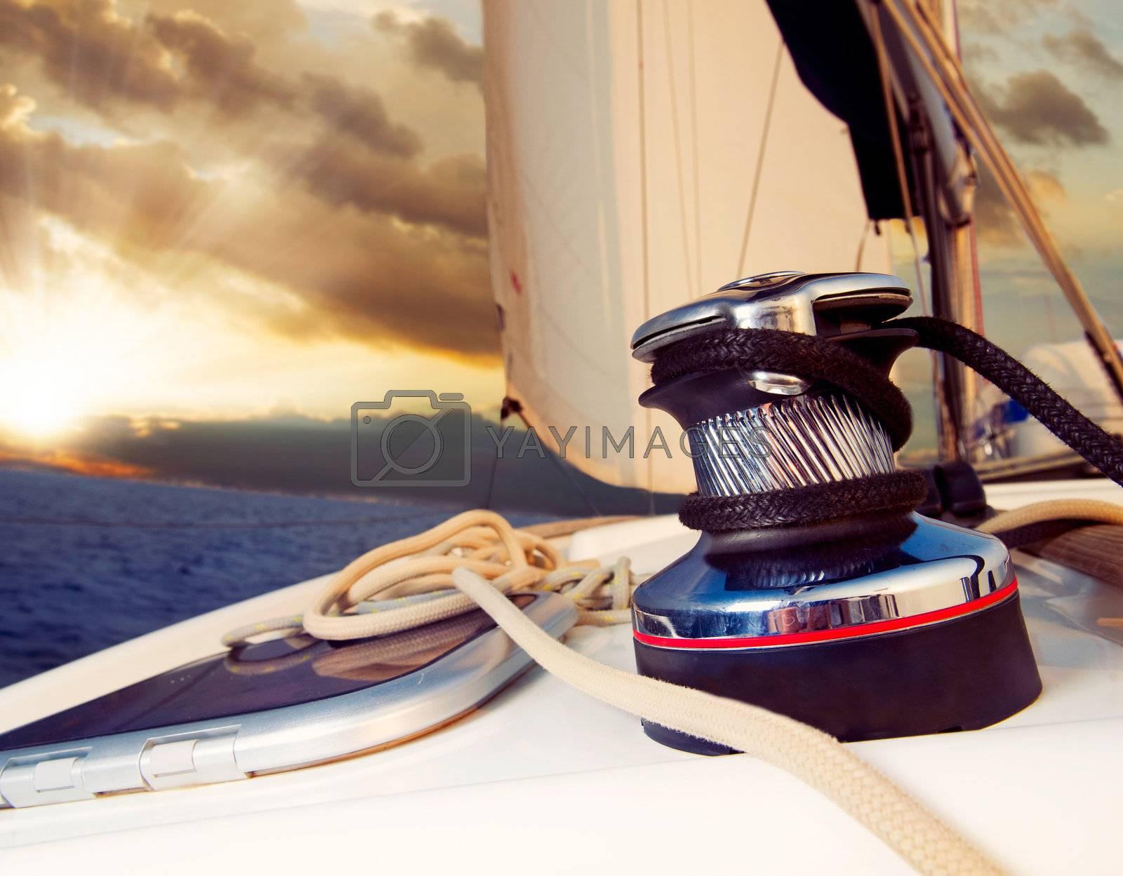 Yacht Sailing against sunset.Sailboat.Travel by Subbotina Anna