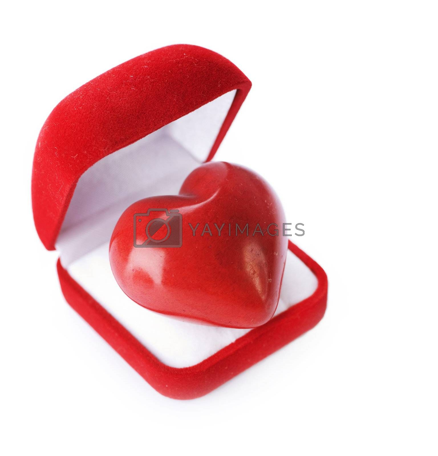 Red velvet Gift Box with a heart on a white background. Valentin by Subbotina Anna