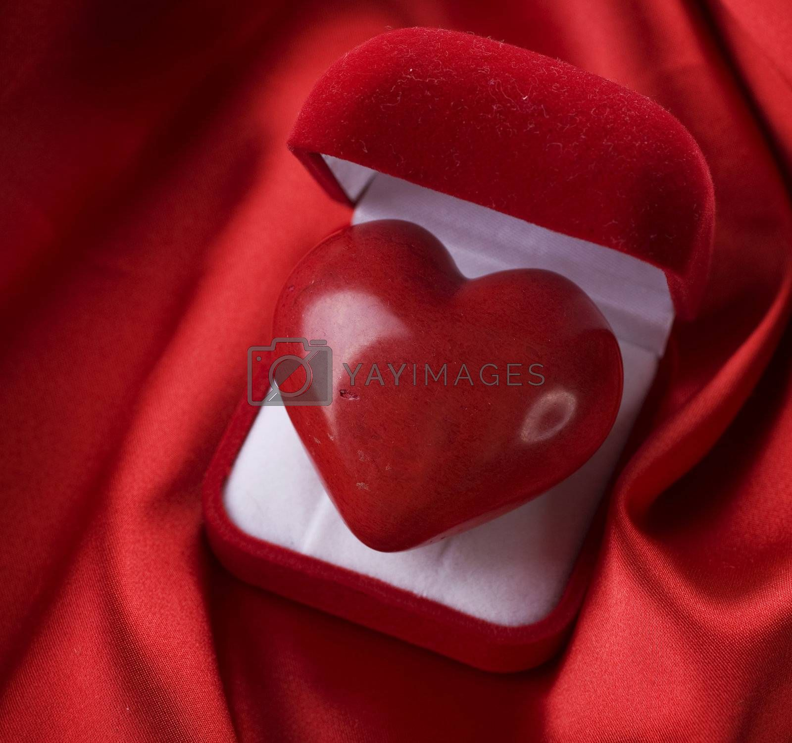 Valentine concept. Red velvet Gift Box with a heart by Subbotina Anna