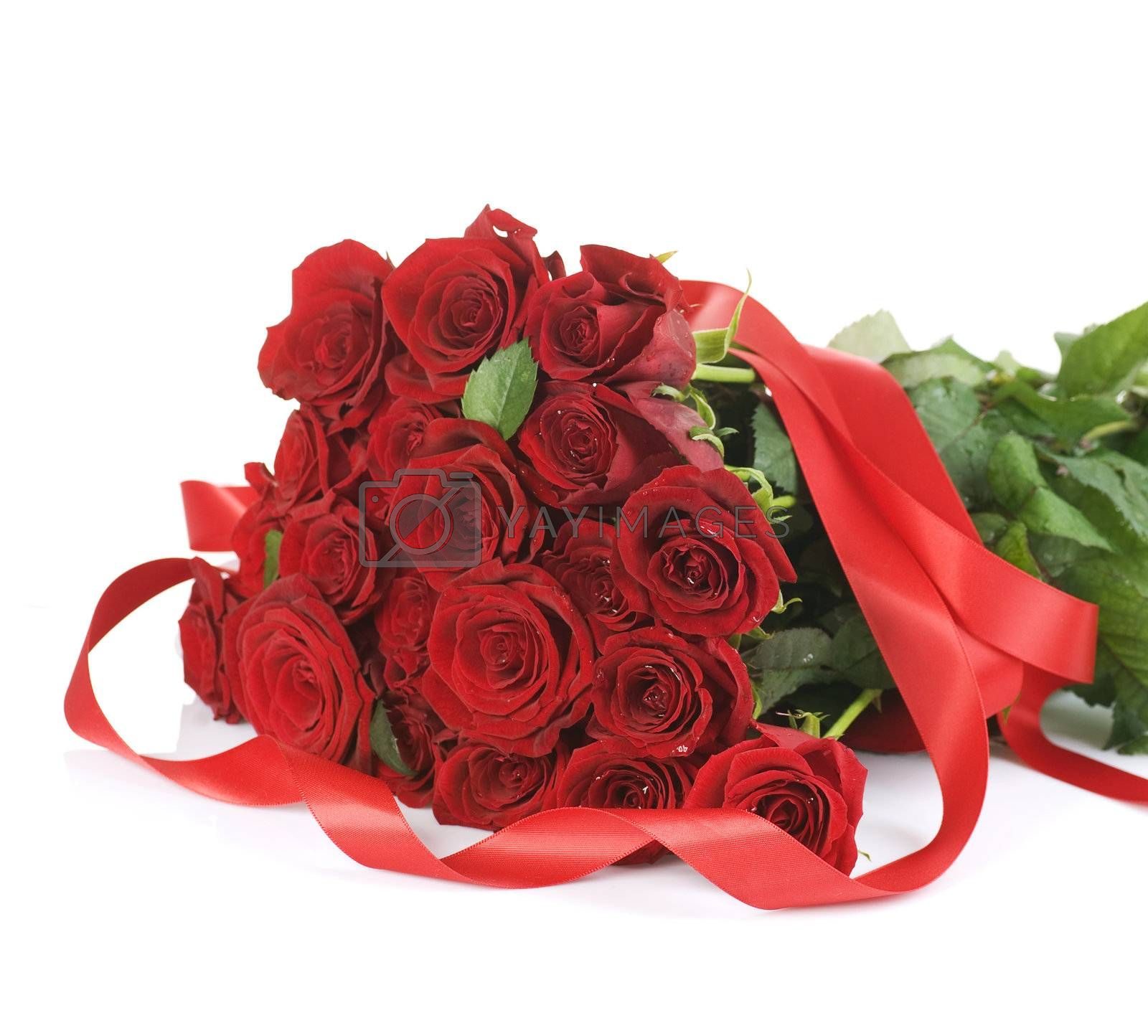 Big Red Roses Bouquet over white by Subbotina Anna