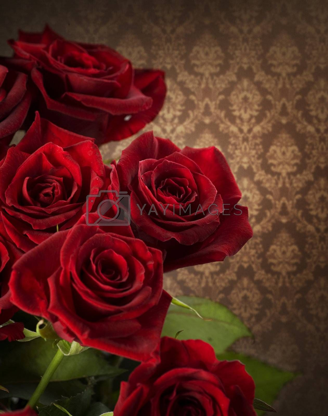 Red Roses Bouquet. Vintage Styled by Subbotina Anna