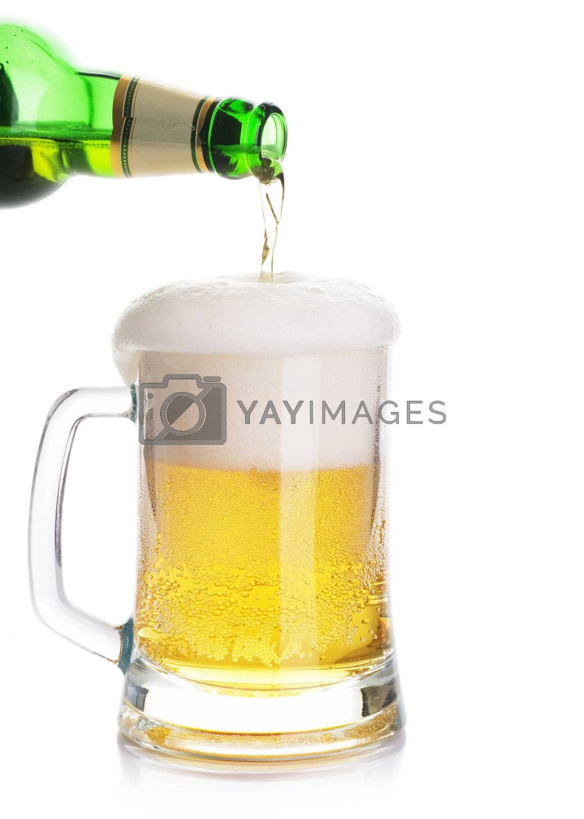 Pouring Beer Isolated On A White Background  by Subbotina Anna