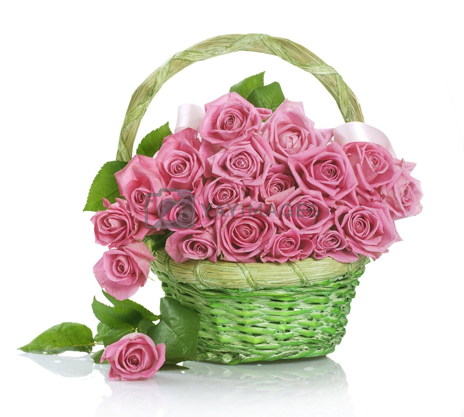 Roses Bunch in the Basket by Subbotina Anna