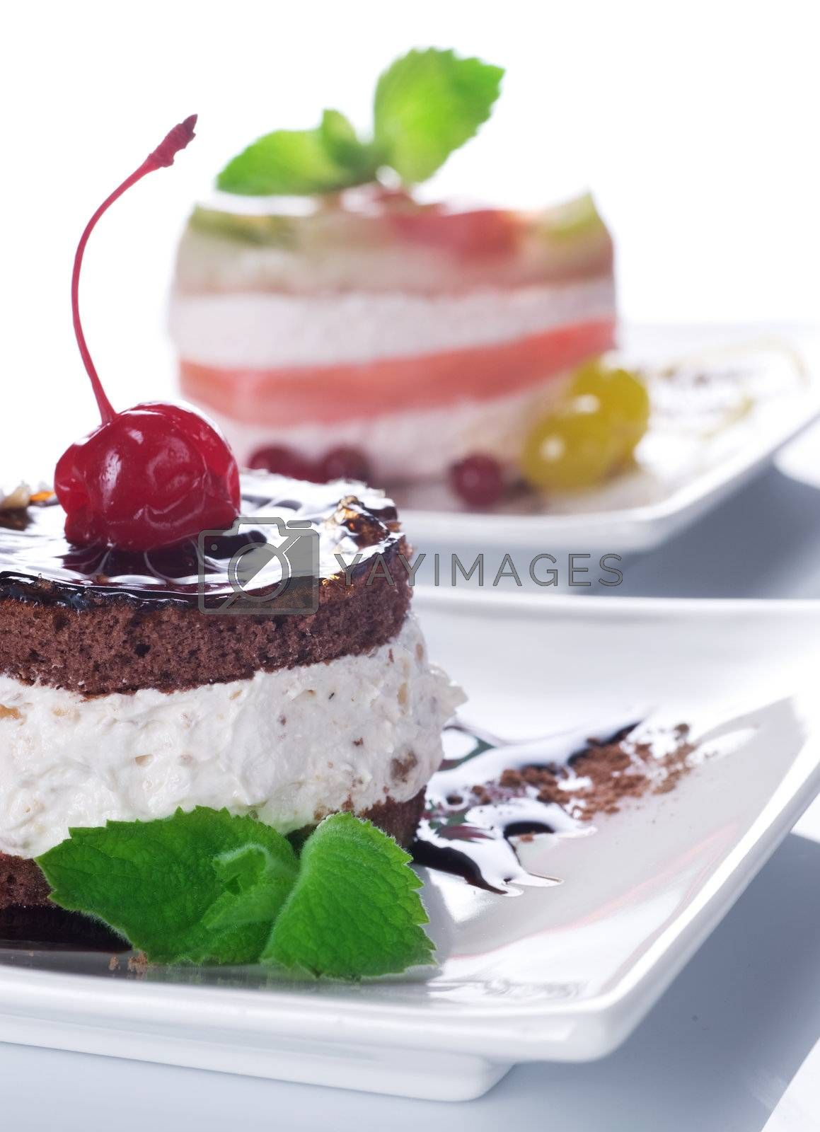 Cherry Cake With Chocolate Cream