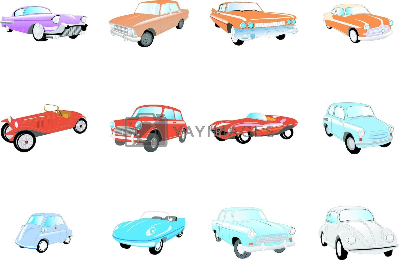 set of the different classical cars