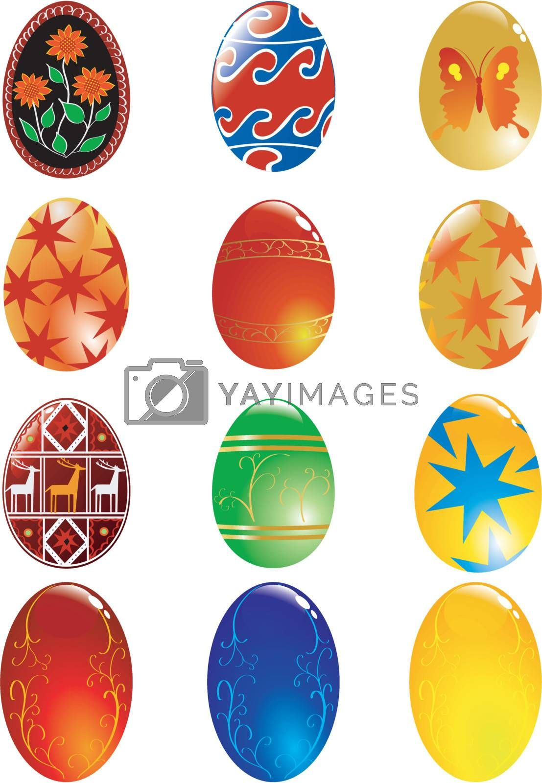 big set of different easter eggs