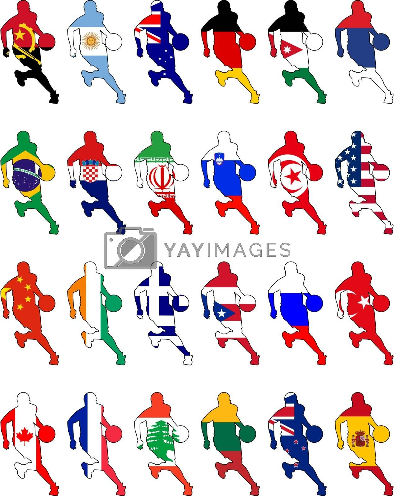 set of the national basketball colors