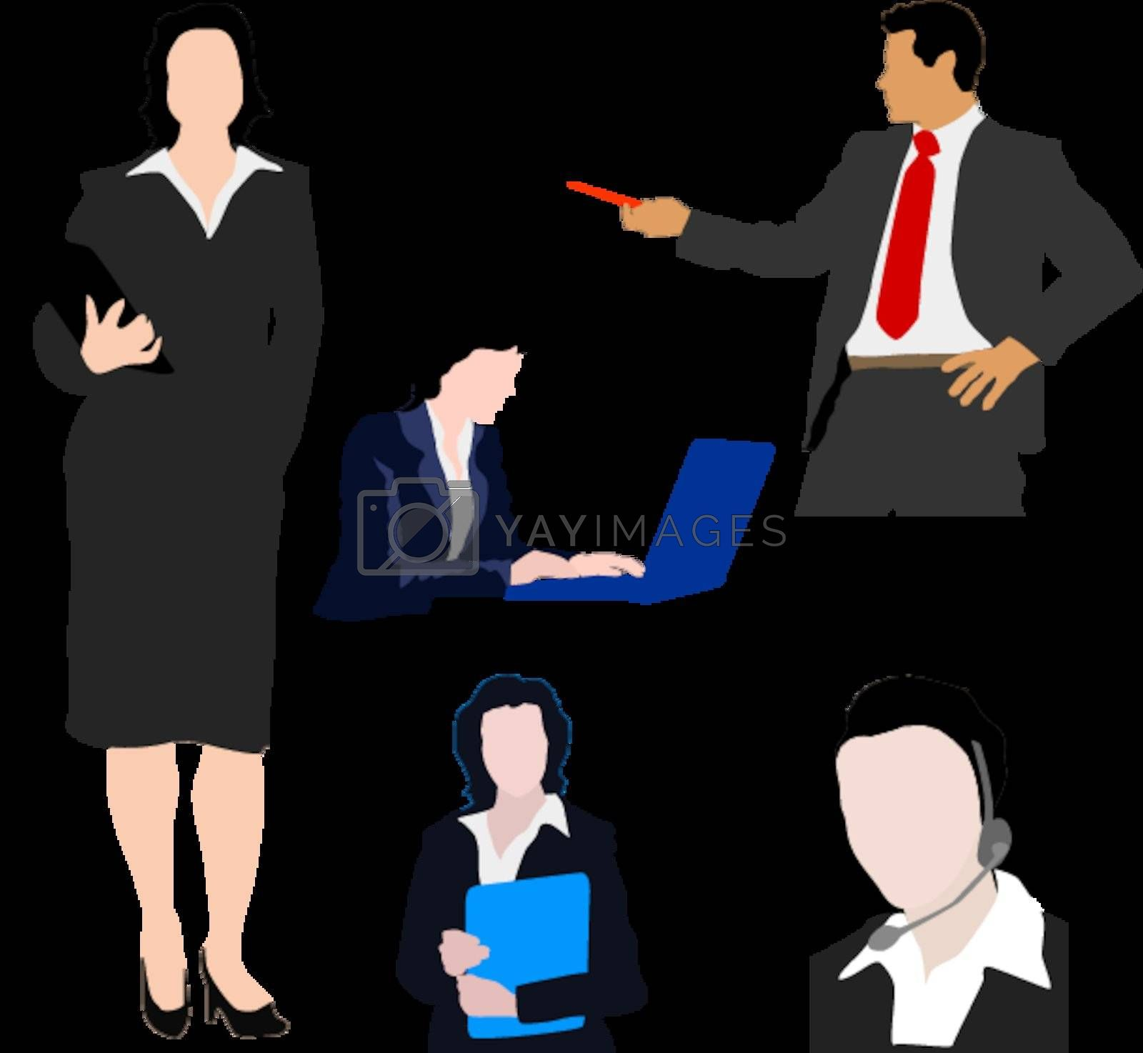 Set of colored silhouettes of business people