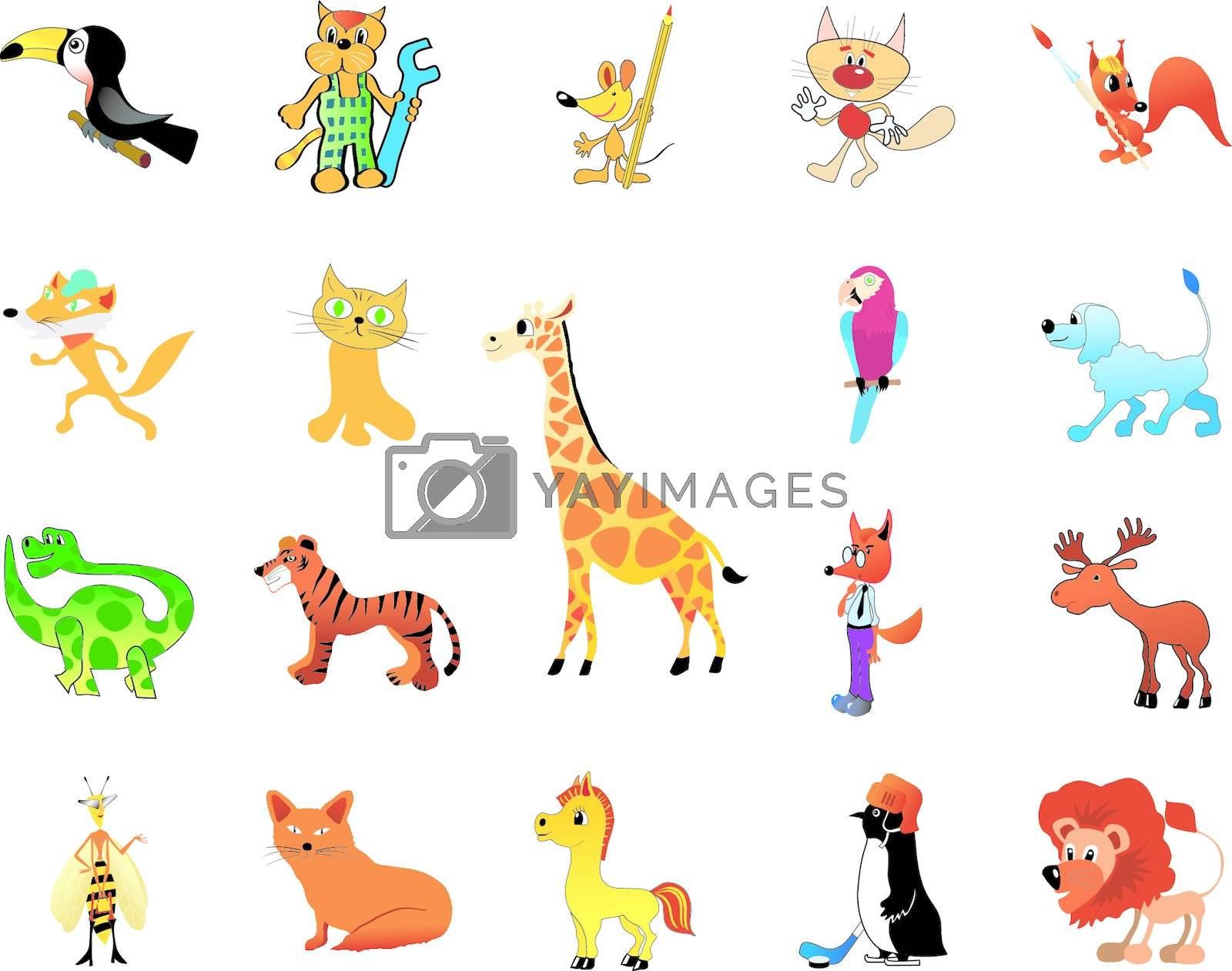 set of the funny cartoon animals