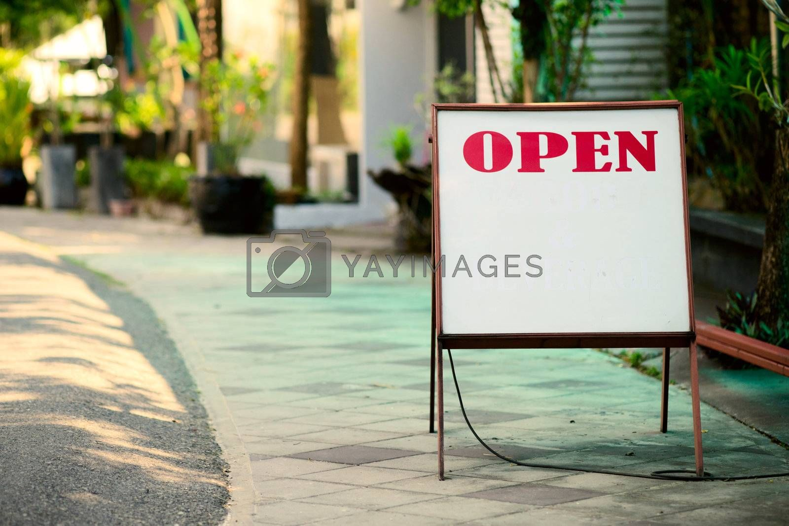 Open sign in the street