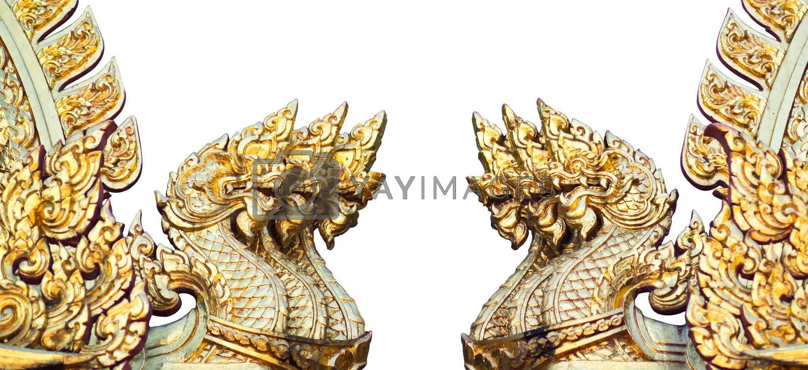 Figures of golden dragons isolated on the white background