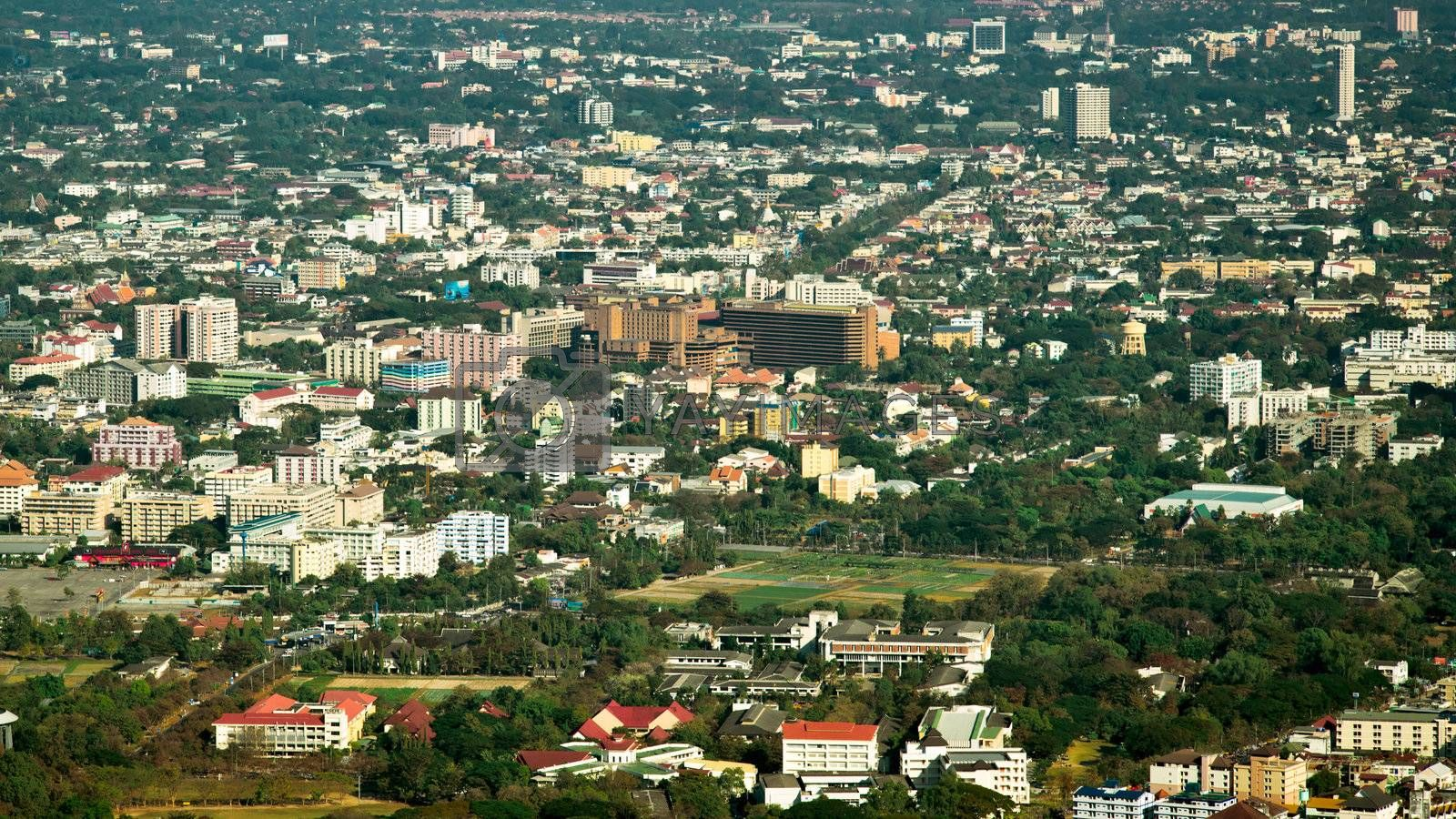 View of Chiang Mai city from viewpoint on Doi Suthep, Northern Thailand