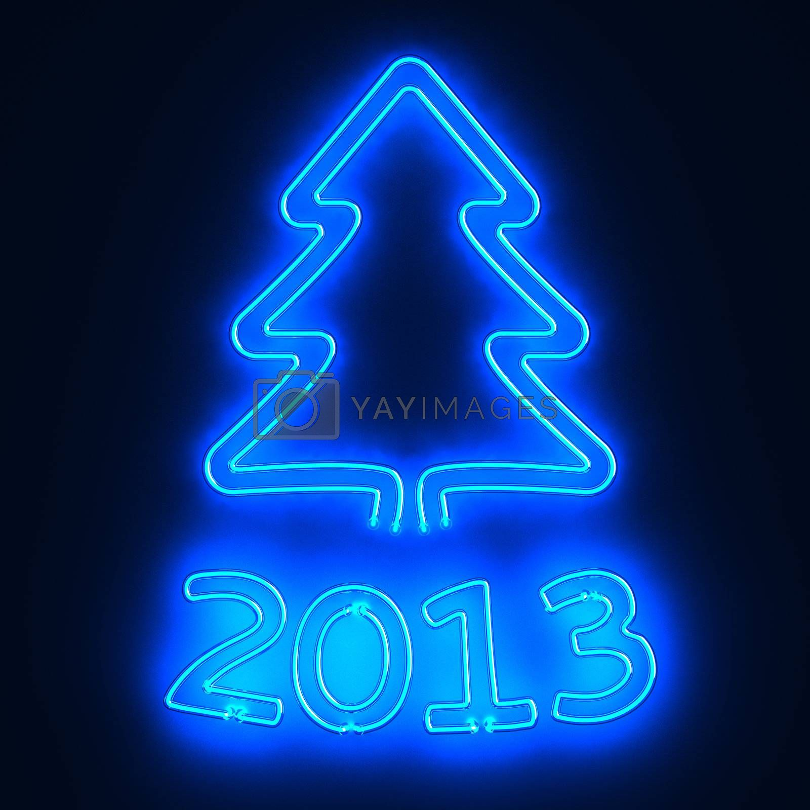 Glowing neon sign 2013 and christmas tree