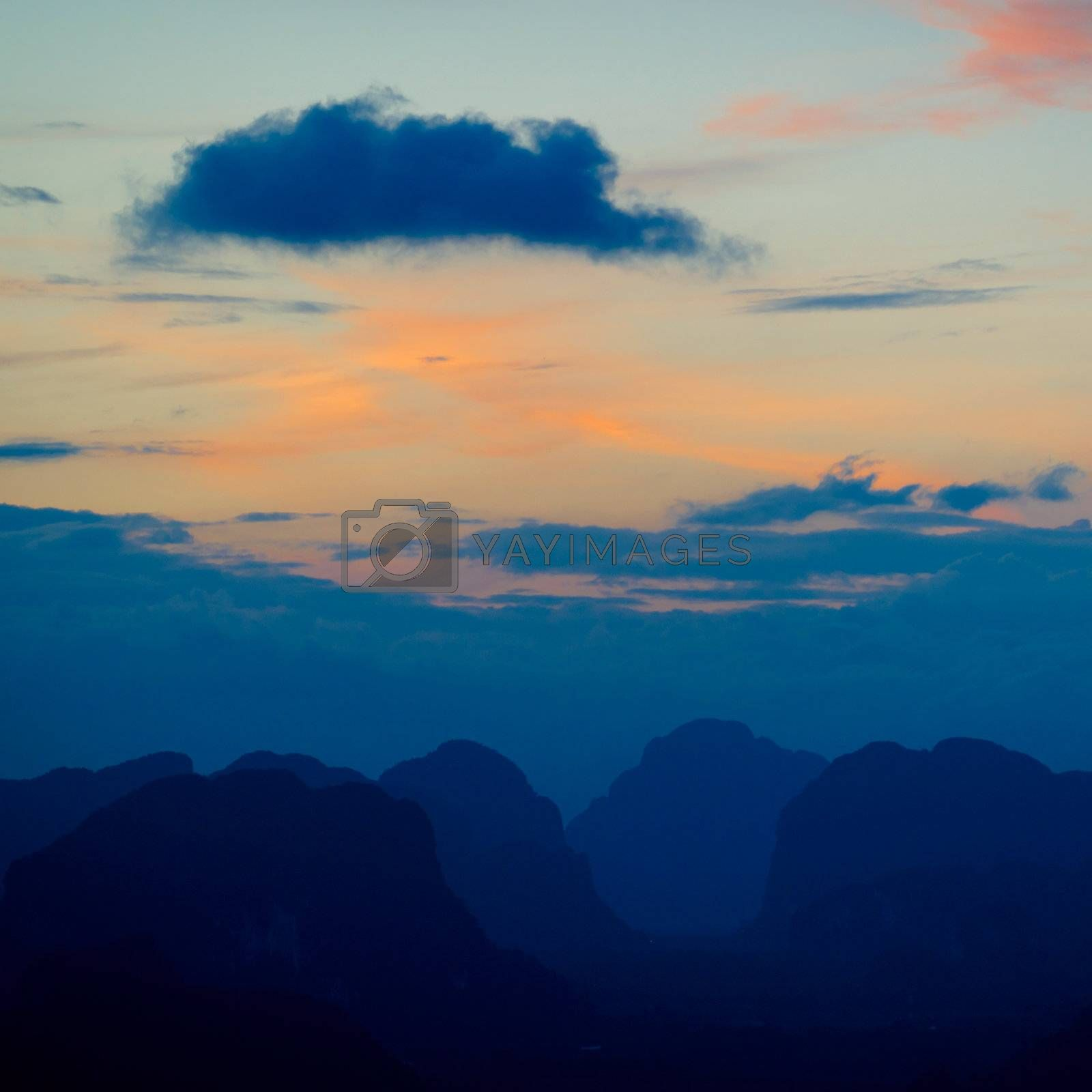 Silhouette of mountains at the sunset