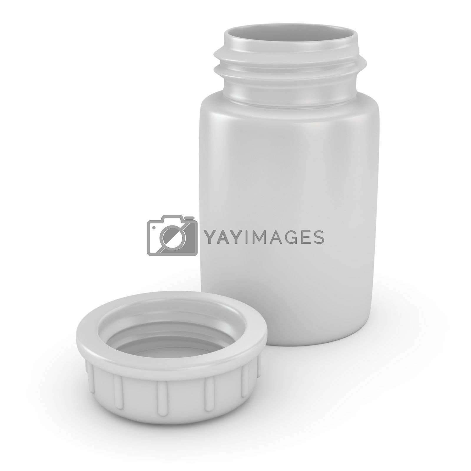 Open plastic pill container on the white background