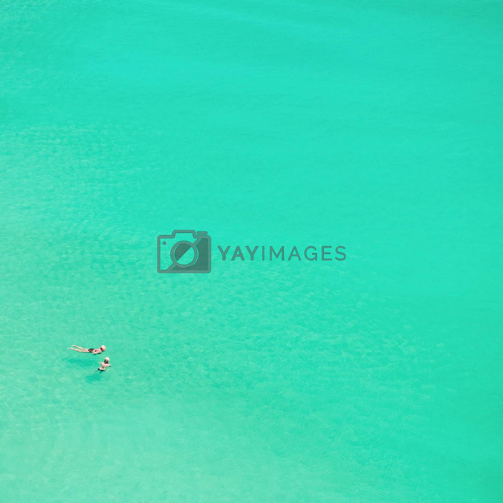 Two persons are swimming in the clear sea