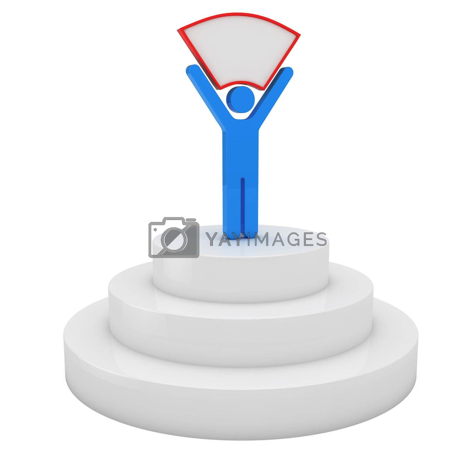 Blue man standing on the podium and holding blank placard, 3d