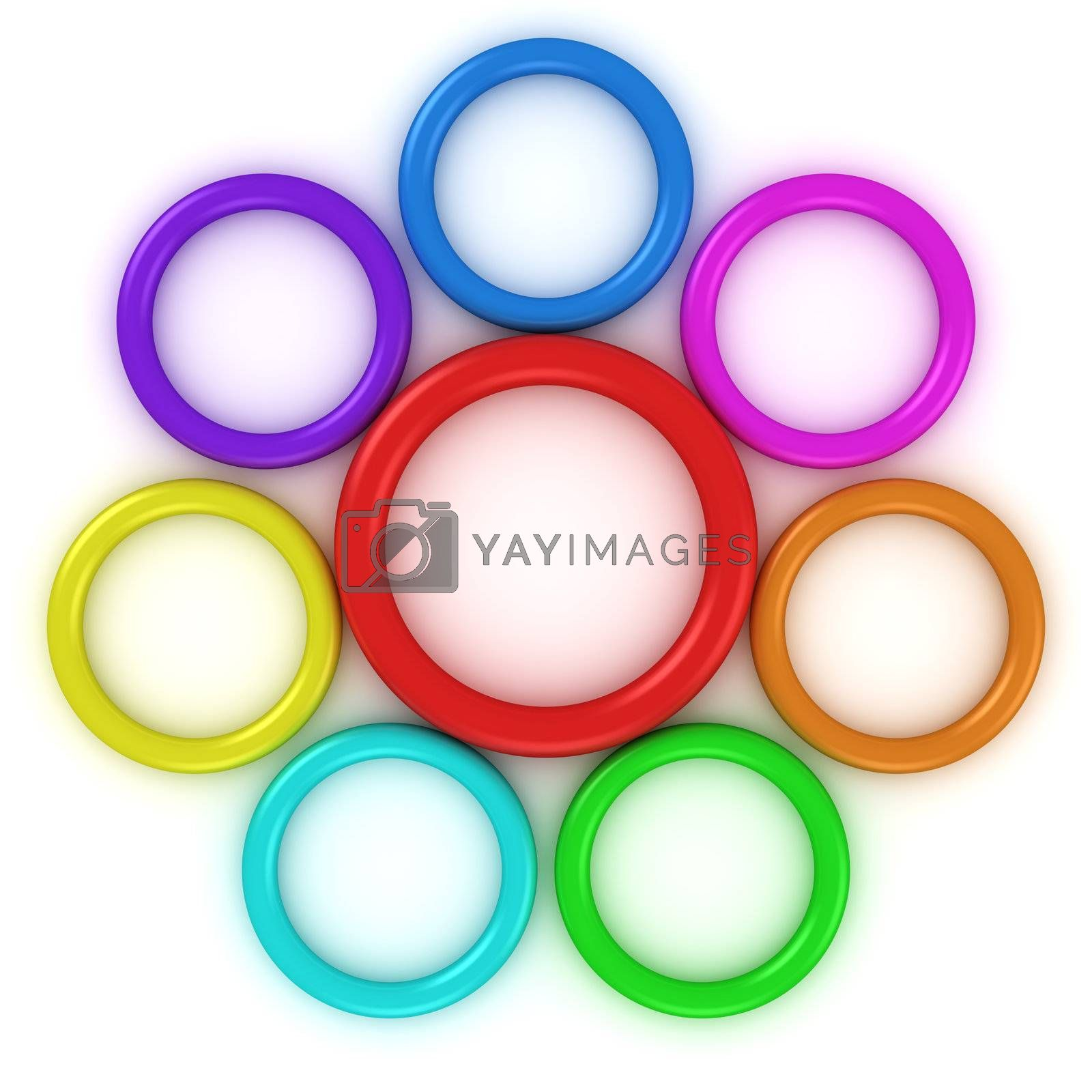 Rings of rainbow colors in the form of daisy flower
