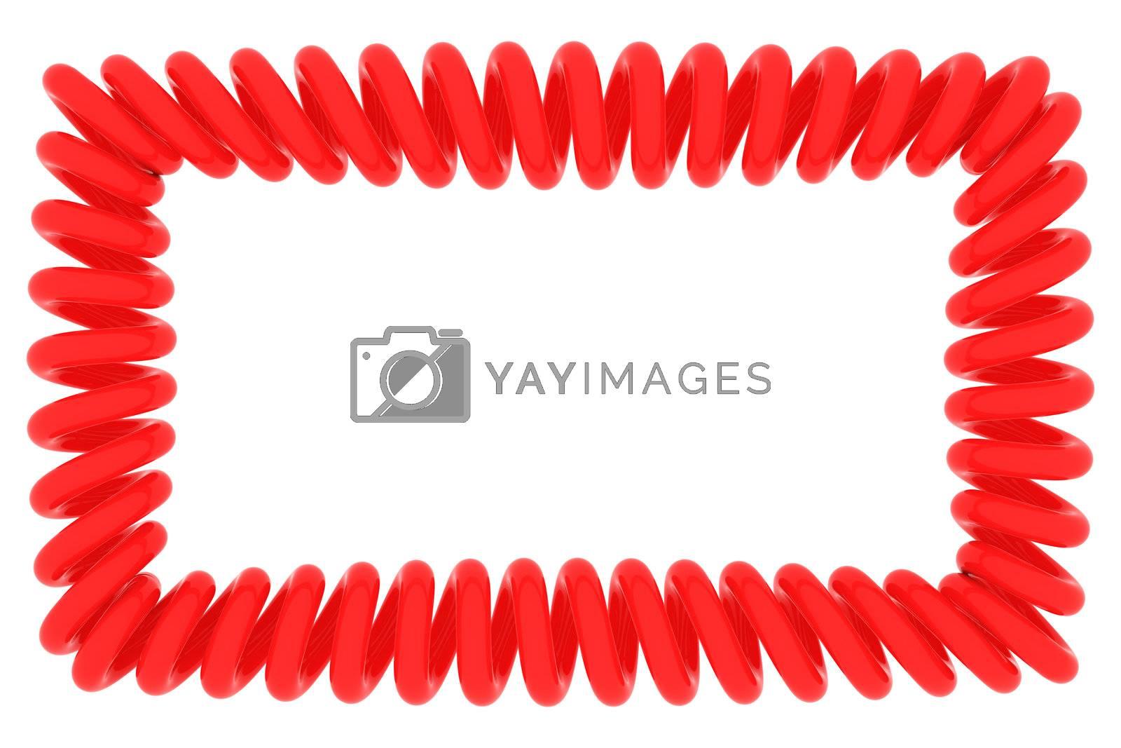 Red spiral frame on white, 3d render