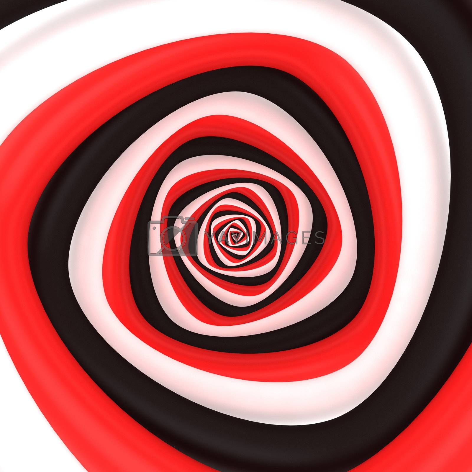Triangular vortex of black, white, red colors
