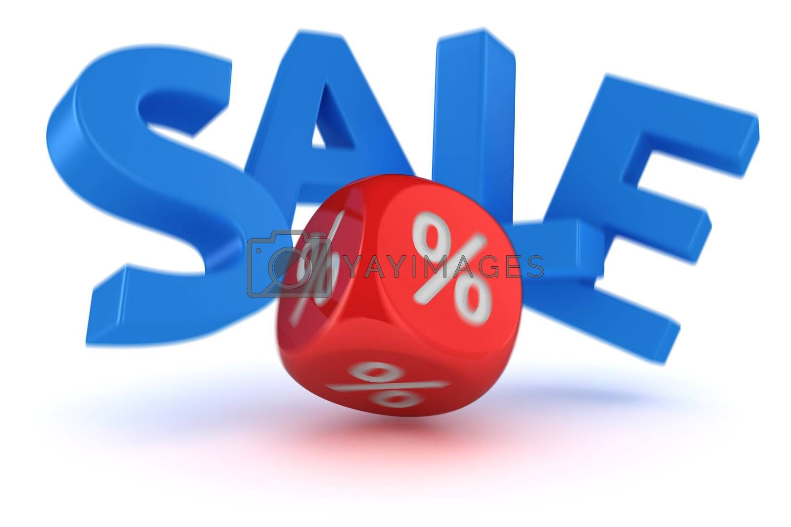 """Big letters """"Sale"""" falling from impact of dice"""