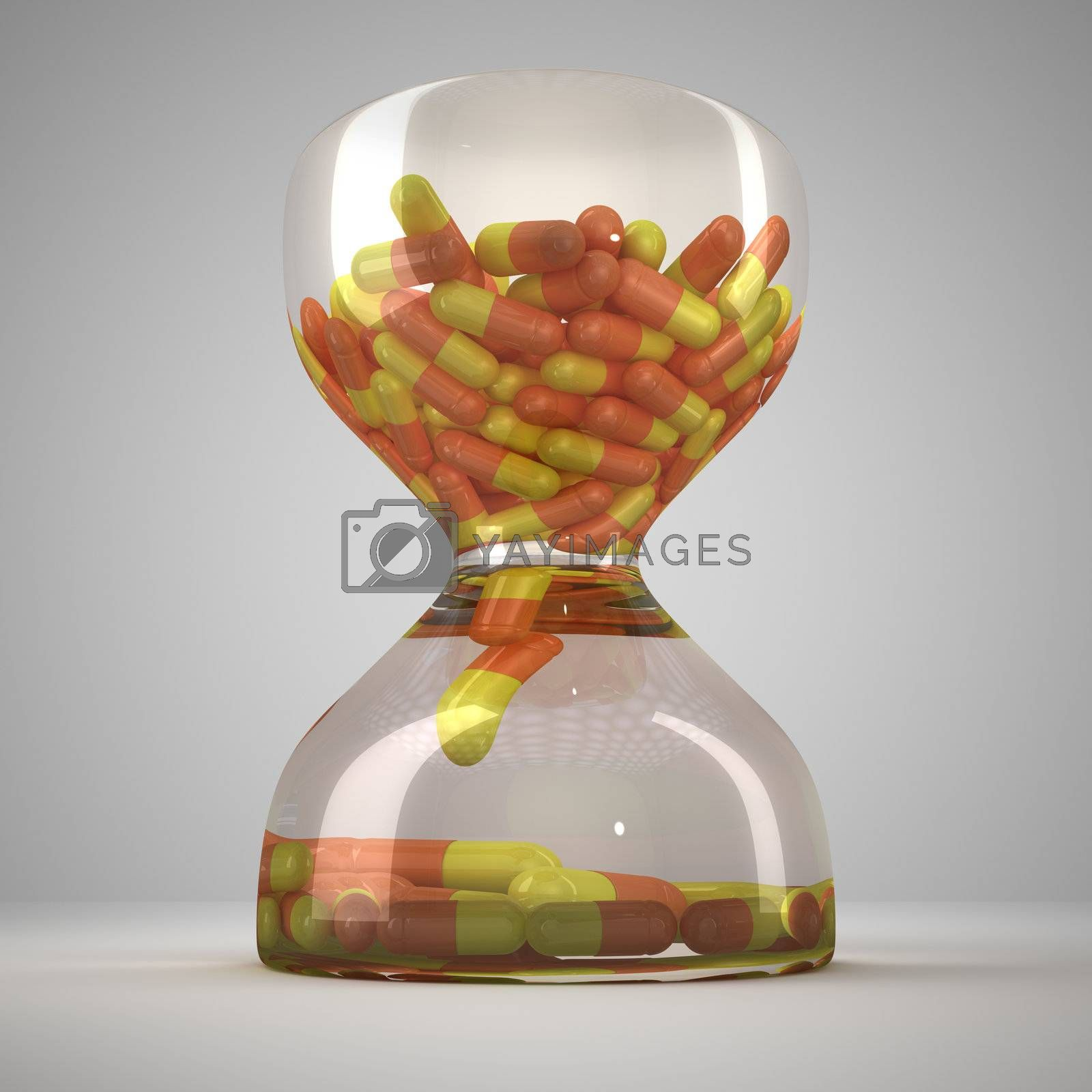 Hourglass with medical capsules