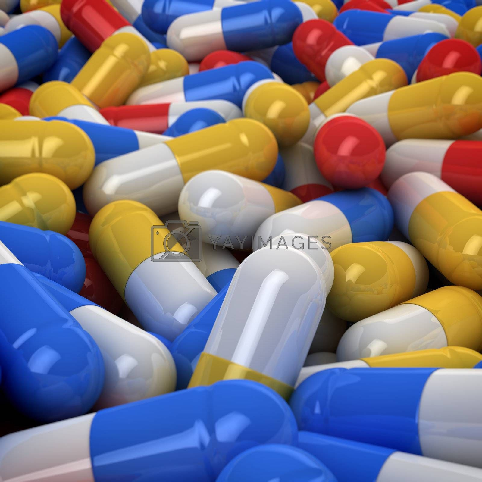 Multicolored capsules background, 3d computer graphic