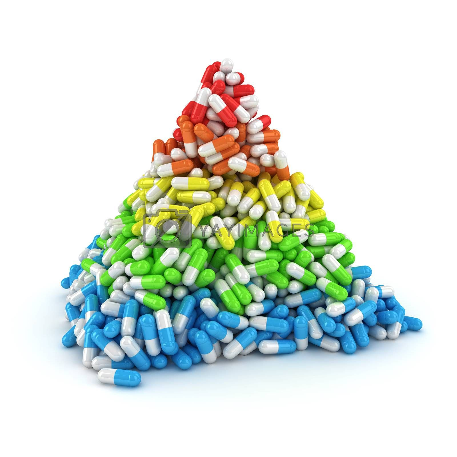 Medical pyramid made from multicolored layers of capsules
