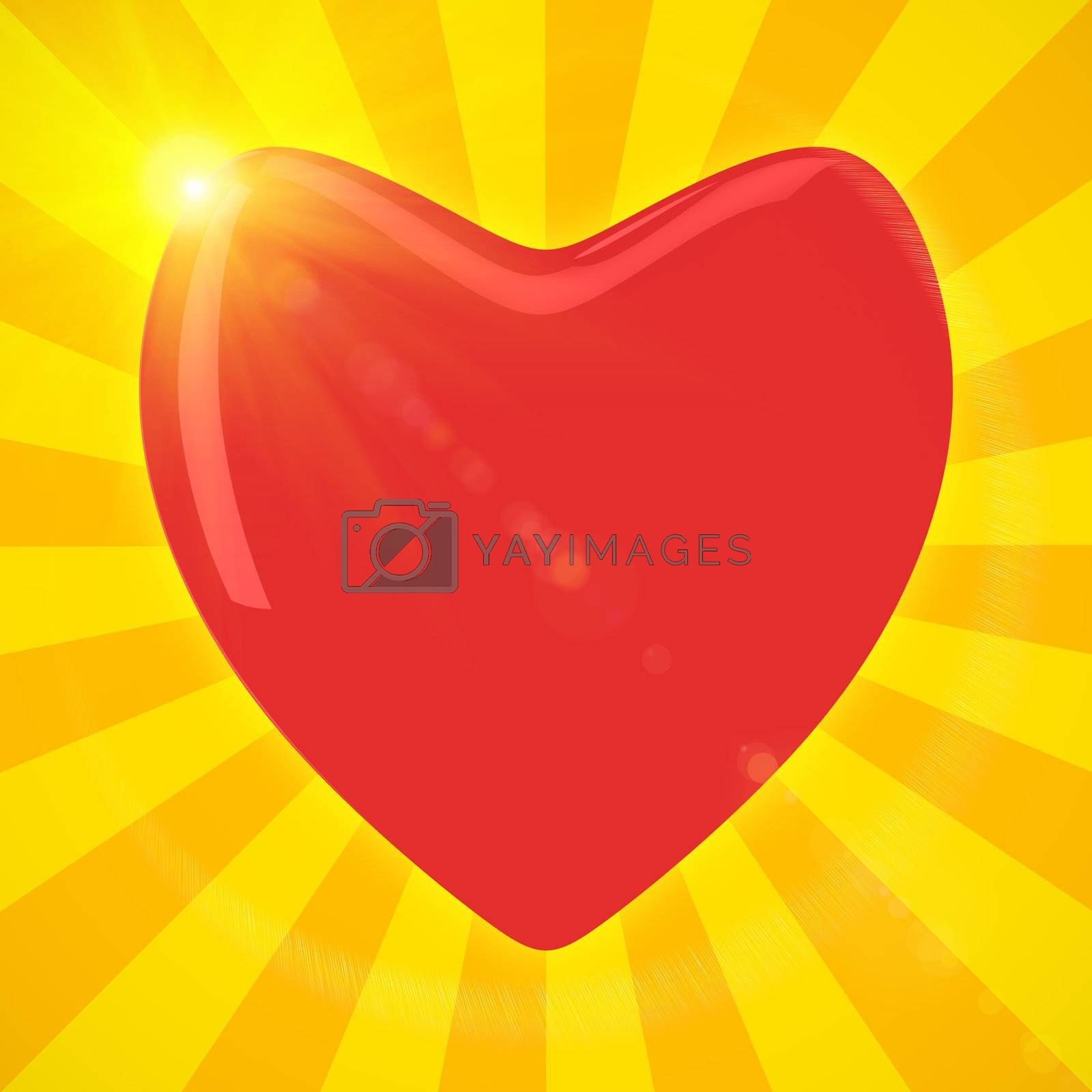 Big red heart shines in sunlight
