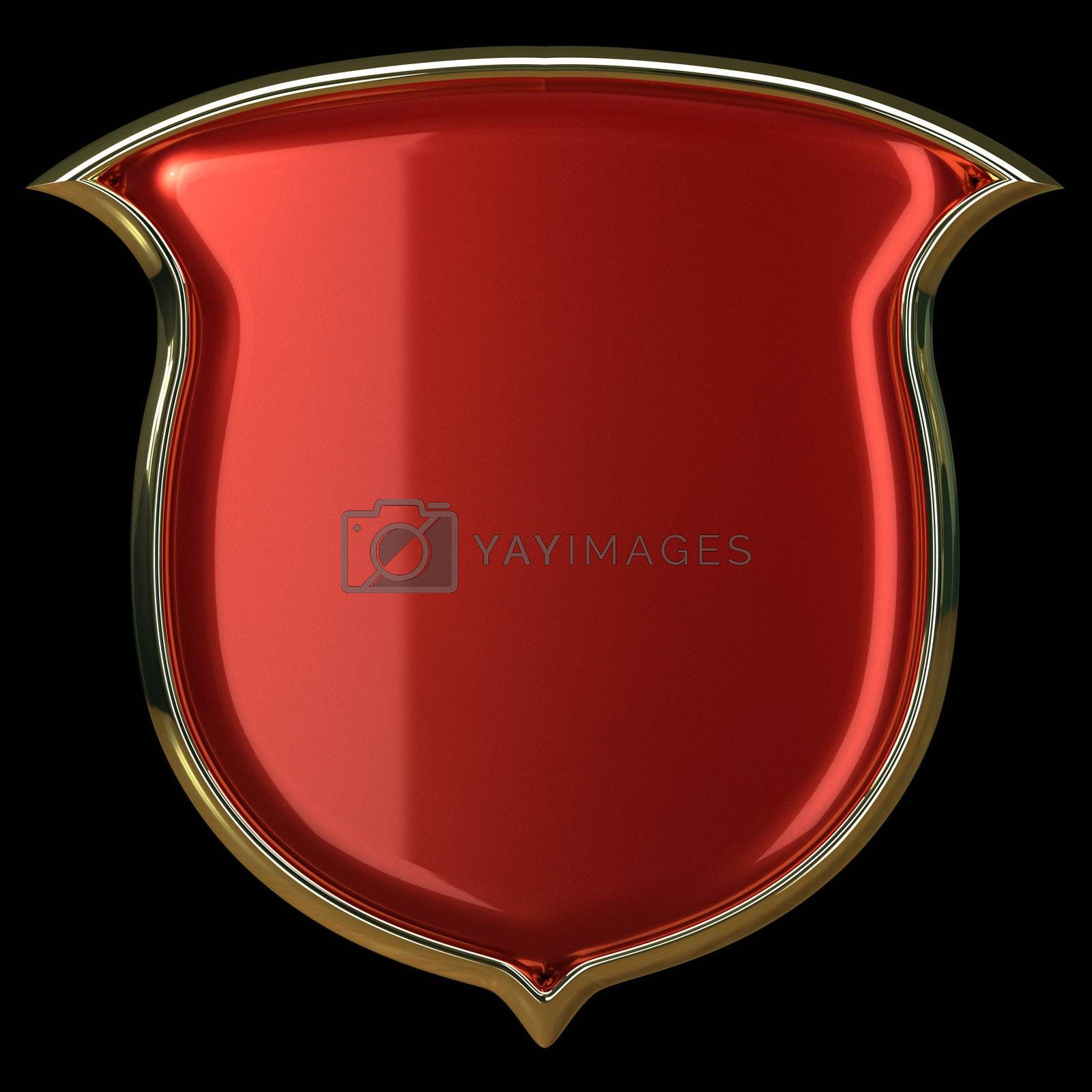 Red glossy shield with golden border isolated on black