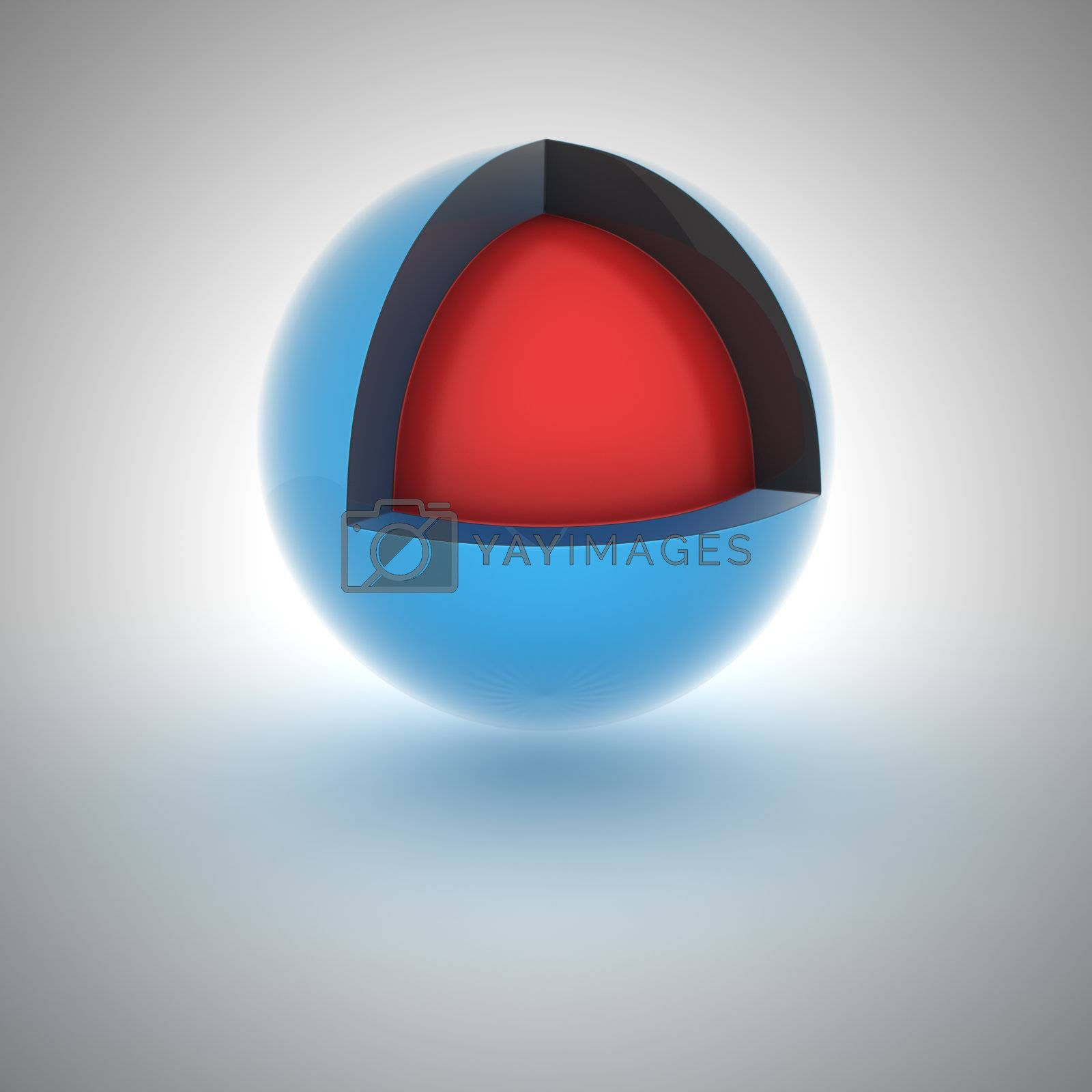 Blue sphere with red core