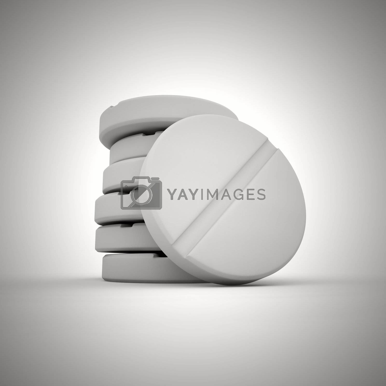 Heap of white round tablet
