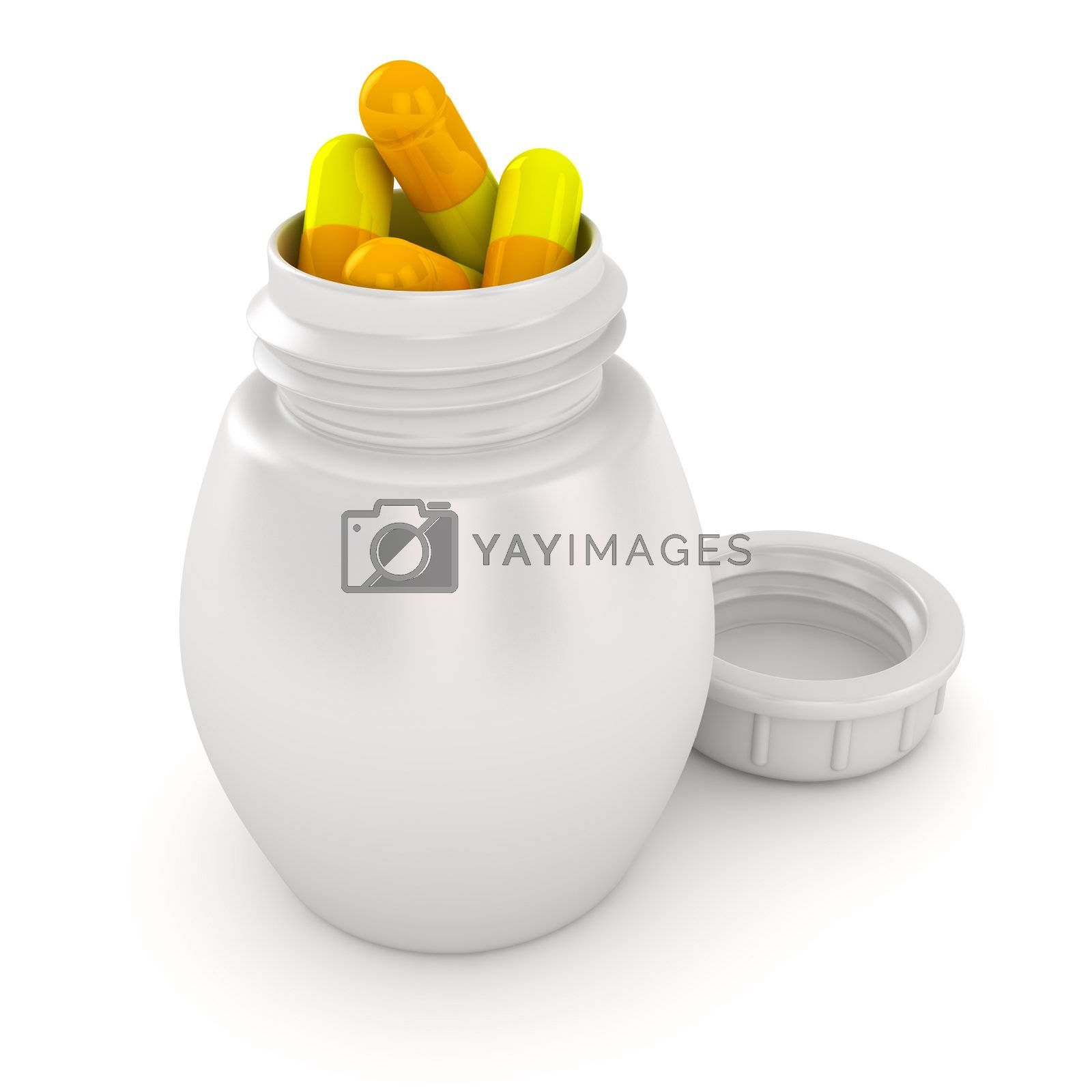 Pill bottle overflowing with medical capsules