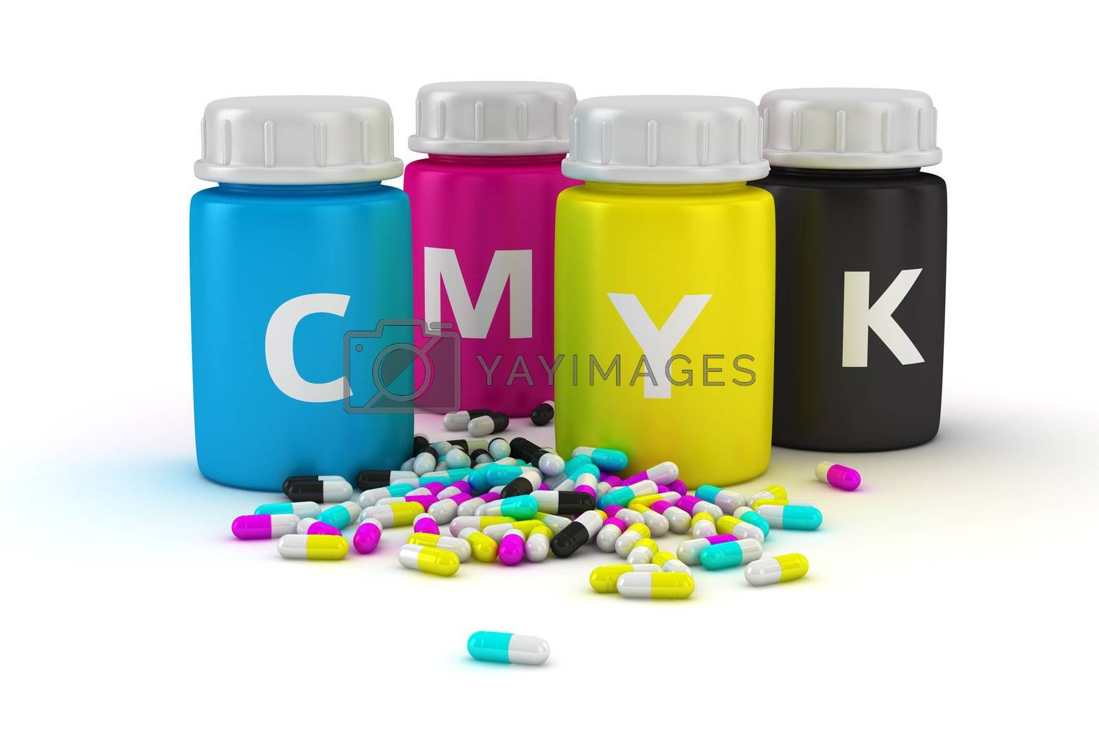 Four bottles with paint of cmyk colors and heap of colored capsules