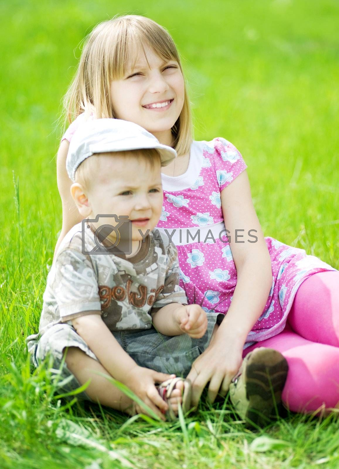 Happy Kids. Sister And brother Outdoor  by Subbotina Anna
