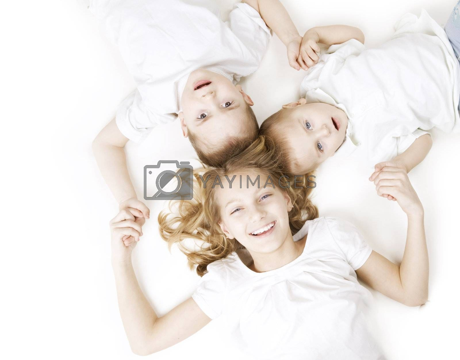 Kids. Happy Smiling Family over white by SubbotinaA