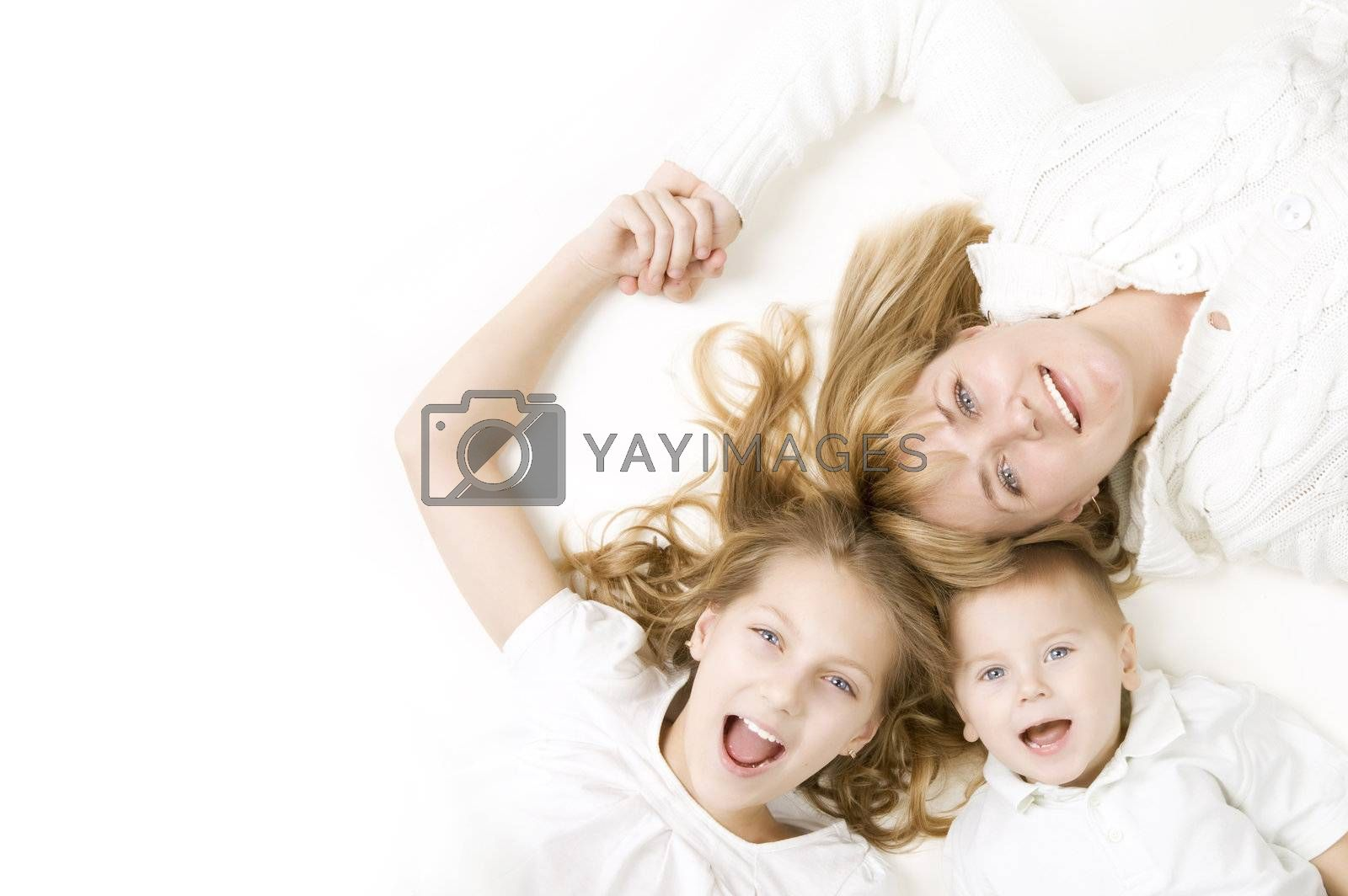 Happy family. Mother with kids over white by SubbotinaA