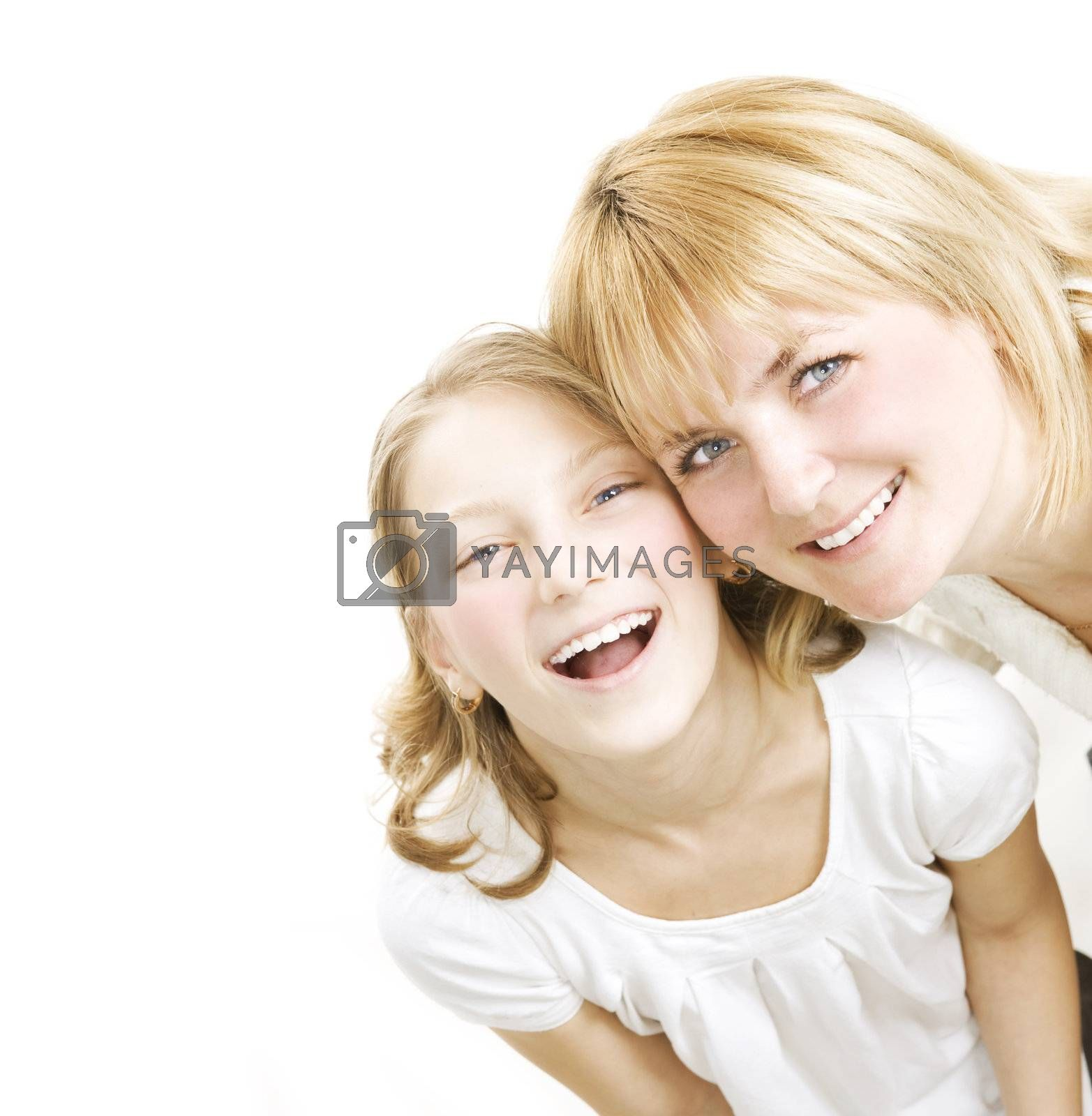 Mother With Teenage Daughter Over White. Happy Family